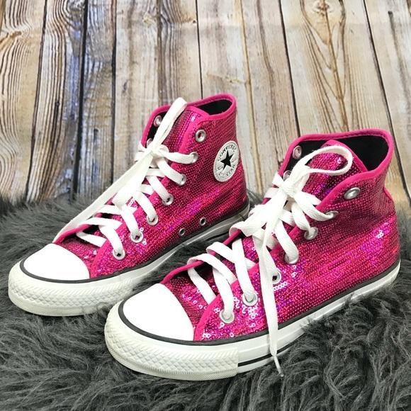 66d5c1fc1553 Converse Shoes - Converse Pink Sequin High Tops